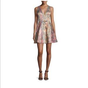 alice + olivia Varita Fit & Flare Metallic Dress